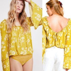 Free People One on One Floral Bodysuit Marigold XS